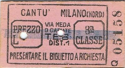 Railway tickets Italy Cantu to Milano-Nord third class single 1948