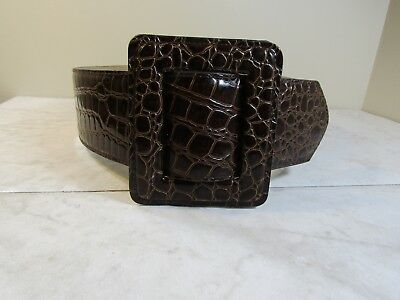 Betsey Johnson Brown Leather Reptile Print Women's Wide Belt Size Small