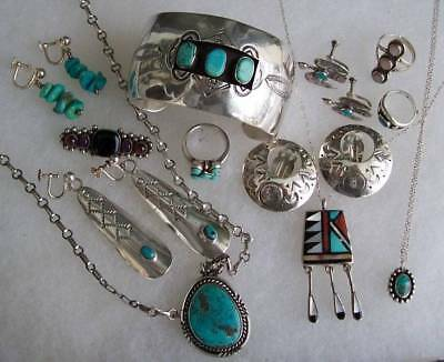 Antique Old Pawn VTG Sterling Turquoise Jewelry Zuni+LOT