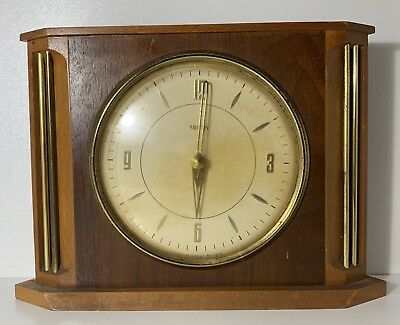 Vintage Smiths Wooden Mantel Clock Made In Great Britain Spares Or Repairs