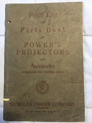 1925 Vintage 35mm POWER'S PROJECTOR Parts and price lis RARE FIND! read details!