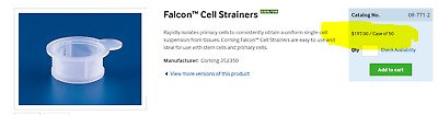 FALCON 70µm White Cell Strainers Polypropylene Frame Extended Tab 352350 [B4S3]