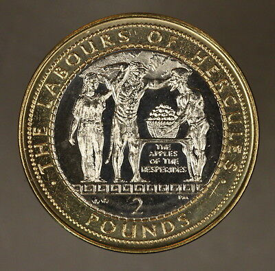 2000 Gibraltar 2 Pounds Hercules & Apples Hesperides Unc** FREE U.S. SHIPPING **