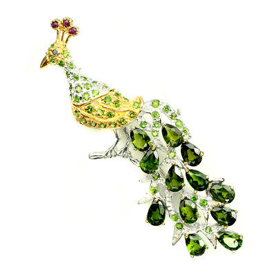 Pear Cut 6x4mm Chrome Diopside Ruby 925 Sterling Silver Peacock Brooch