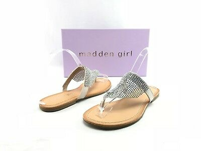 474f8e5f25c NEW Madden Girl Sabeer Womens Silver Embellished Slip On Thong Sandals US 6  B142