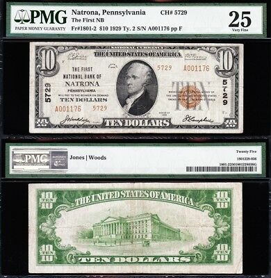 VERY NICE *RARE* Bold Mid-Grade VF 1929 $10 NATRONA, PA National Note! PMG 25!