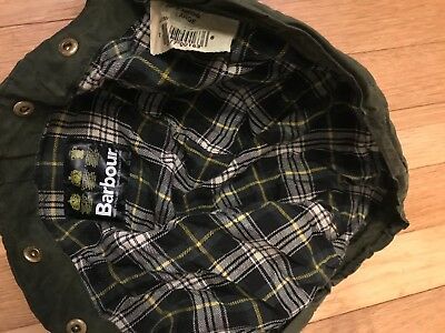 Barbour Green Thornproof Waxed Cotton Hood Size Large