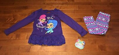 Shimmer and Shine Toddler Girl Purple Tunic Shirt & Leggings Outfit New 4T