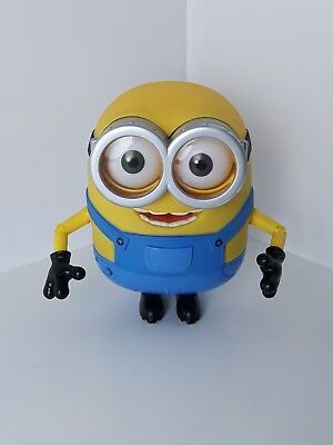 """Minions Bob Interactive Toy 7"""" Tall Despicable Me Talking Sounds Thinkway Toys"""