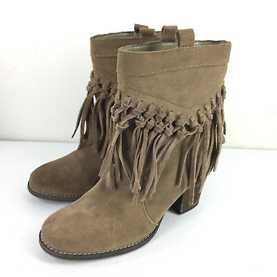 26467e6f1 Sbicca Vintage Coll 6.5 Ankle Boots booties Fringe brown Suede Leather Pull  on