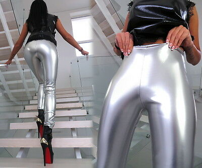 Silber Best Stretch Hose Made In Italy Luxus Lack Glanz B283 Sexy Fit Pants M