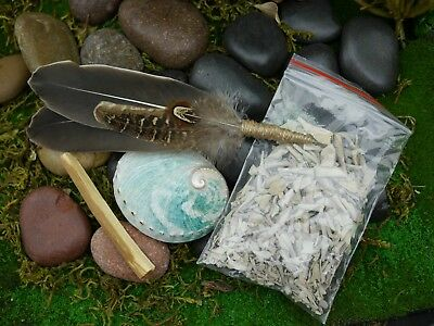 Smudging Kit  Feather Wand Small Abalone Shell 8.5cm WhiteSage Palo Santo Smudge