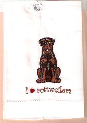 Rottweiler Embroidered Tea Towel I love rottweilers 55% Linen 45% Cotton (B)