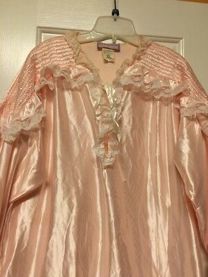 Beth Michaels Womens Large 16-18 Long Pink  Nightgown W/Lace Long Sleeves Vtg