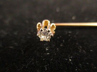 Vintage 14K Yellow Gold Diamond Stick Pin.                   (14K Tested)