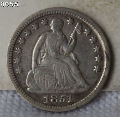 """1851 Liberty Seated Half Dime """"VF+"""" *Free SH After 1st Item*"""