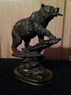 Grizzly Bear Bronzed Statue 10 inches tall