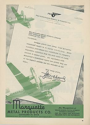 1952 Marquette Metal Co. Aviation Ad Panagra Airlines Pan American Grace Airways