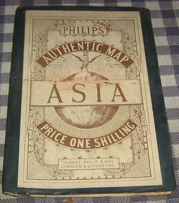 "Circa 1900 George Philip's Pocket Authentic Shilling Map of Asia,27"" x 23"",Rails"