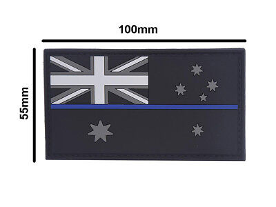 PVC Patch Thin Blue Line Australian Flag 100mm x 55mm - Subdued Finish - New