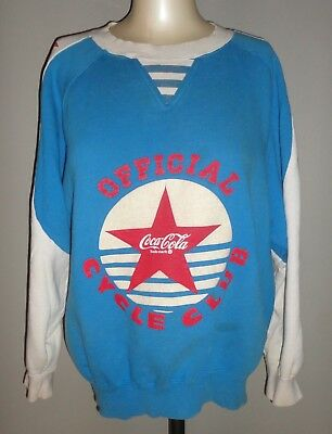 Vintage COKE COCA COLA Blue OFFICIAL CYCLE CLUB Long Sleeve Shirt - Adult Size