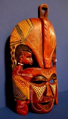 Hand Carved And Hand Painted Carved Wooden African Mask - Excellent Condition!