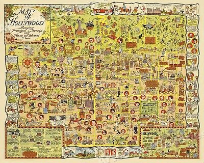 1928 Hilarious Map of Hollywood Vintage Pictorial Map - 16x20