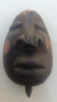 Tribal Wood Mask African Carved Hand Painted Art Dot Vintage Wooden Home Decor