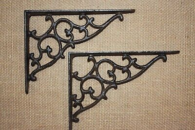 "(2) Medium Shelf Brackets Victorian Swirl Design Solid Cast Iron, 7 1/8"",  B-1"