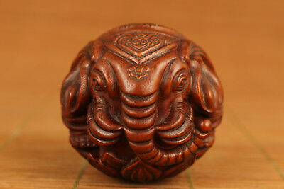 Ancient Boxwood chinese old Carved Elephant Statue Netsuke hand piece