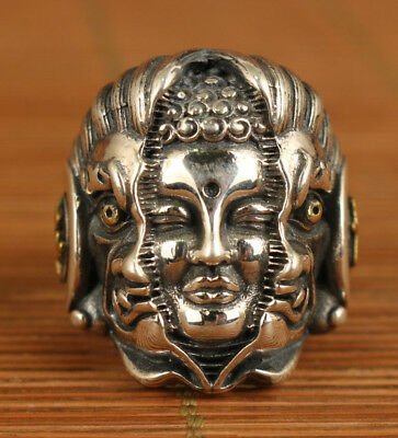 antique chinese old Big Fine Silver 925 hand carved buddha and hell statue ring