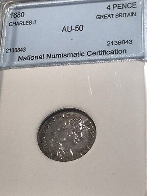 1680 Uk Gb 4 Pence Silver
