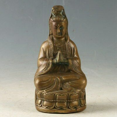 Collectible Chinese Miao Silver Hand-carved Kwan Yin Statue Qing Dynasty