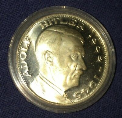 Gold Plated ADOLF HITLER BIRTH - DEATH COMMEMORATIVE COIN (uncirculated)