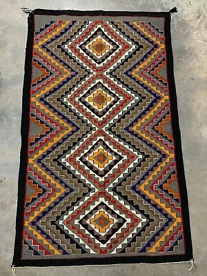 "Vintage Navajo Eye Dazzler Rug 40"" X 66"" Southwestern Indian Art Blanket Wool"