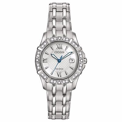 Citizen Eco-Drive Diamond Accent Stainless Steel Ladies Watch EW2360-51A