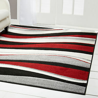 "Red Black Modern 5x5 Area Rug Abstract Swirls Lines - Approx 5'2"" x 5'2"" Round"