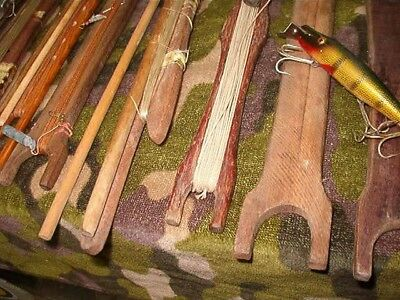 10 Vintage Antique Wood Fishing Hand Held Hand Line Fishing Sticks / Lures