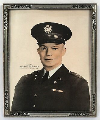 Vintage Young General Dwight D. Eisenhower Print Original Art Deco Frame