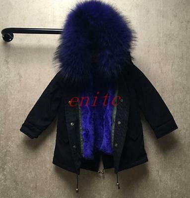 Fashion Kids Girls Real Chic Fur Collar Hooded Thicken Coat Jacket Parka Outwear