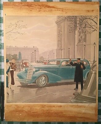 OOAK Original EDUARDO BENITO 1934 Painting Art Deco Era -drawn for a Cadillac Ad