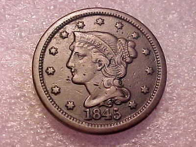 1845 Braided Hair Large Cent  with Strong Date and Full Liberty