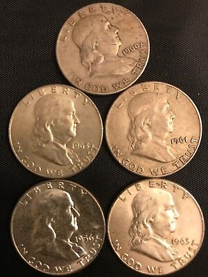 90% Junk Silver, Franklin Half Dollars, $2.50 Face Value, Free Ship