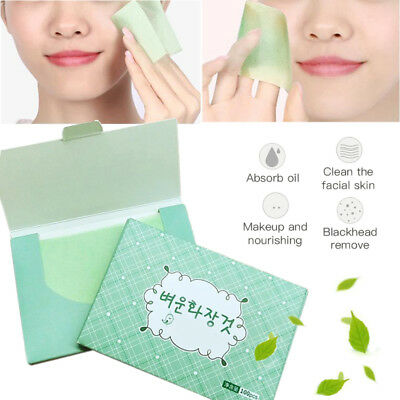100 Pcs Make Up Green Tea Oil Control Oil-Absorbing Blotting Facial Clean Paper