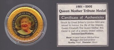 1901-2002 Queen Mother Royal Tribute Medallion 24 ct Gold on .999 Silver F-409