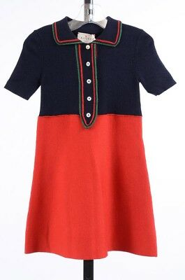 Gucci red navy green girls 4 knitted stripe placket colorblock a-line dress $520
