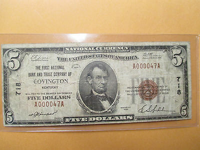 1929 $5 The First National Bank And Trust Company Of Covington,ky Low Serial #47