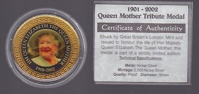 1901-2002 Queen Mother Royal Tribute Medallion Nickel Silver F-410