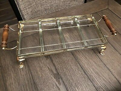 Vintage Glass Relish 4-Trays Rectangular Serving Dish With Footed Brass Holder