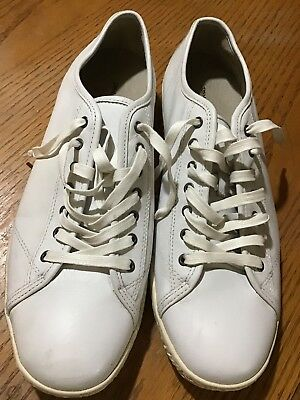 John Varvatos White Leather Athletic Shoes Mens Size 13 Three Star, Lace Up Low